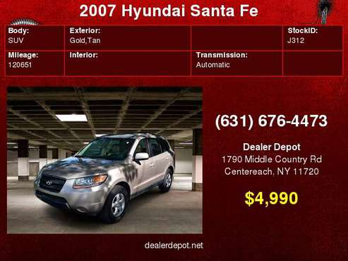 2007 Hyundai Santa Fe FWD 4dr Auto GLS Ltd Avail for sale in Centereach, NY