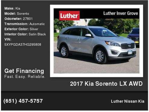 2017 Kia Sorento LX AWD for sale in Inver Grove Heights, MN