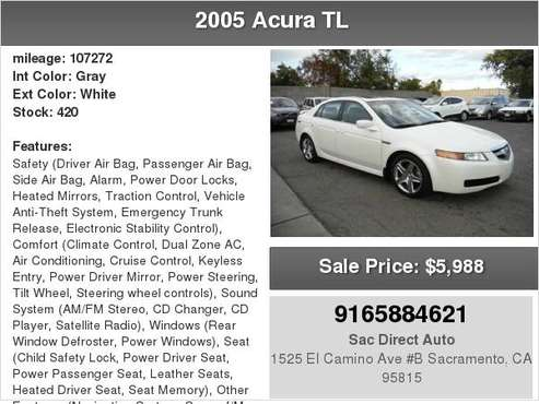 2005 Acura TL 107K MILES WITH NAVIGATION for sale in Sacramento , CA