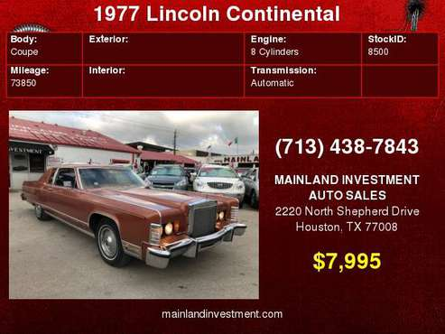 1977 Lincoln Continental for sale in Houston, TX