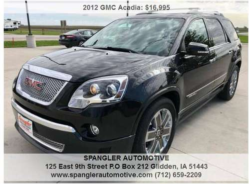2012 GMC ACADIA DENALI*AWD*DUAL MOONROOF*NAV*LEATHER*DVD*HAS IT ALL!! for sale in Glidden, IA