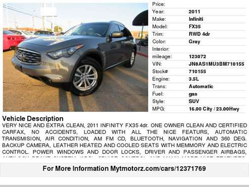 2011 Infiniti FX35 RWD 4dr *Sport Cars* for sale in Arlington, TX