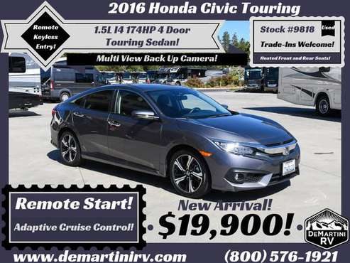 2016 Honda Civic Touring 1.5L I4 174HP Automatic 4 Door Sedan #9818 for sale in Grass Valley, CA