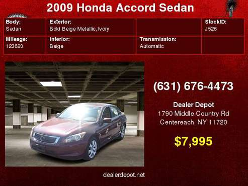 2009 Honda Accord Sedan 4dr I4 Auto EX-L for sale in Centereach, NY