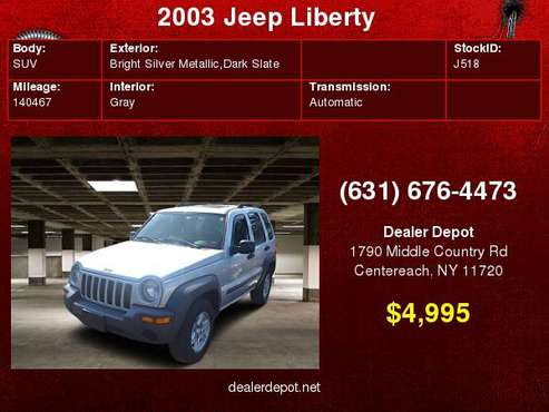 2003 Jeep Liberty 4dr Sport 4WD for sale in Centereach, NY