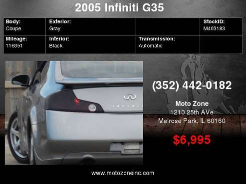 2005 Infiniti G35 Base Rwd 2dr Coupe for sale in Melrose Park, IL
