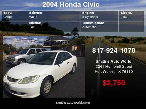 2004 Honda Civic 2dr Cpe VP Auto your job is your credit for sale in Fort Worth, TX