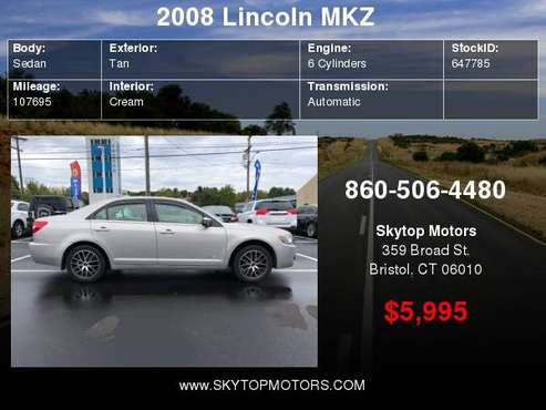 2008 Lincoln MKZ 4dr Sdn AWD for sale in Bristol, CT